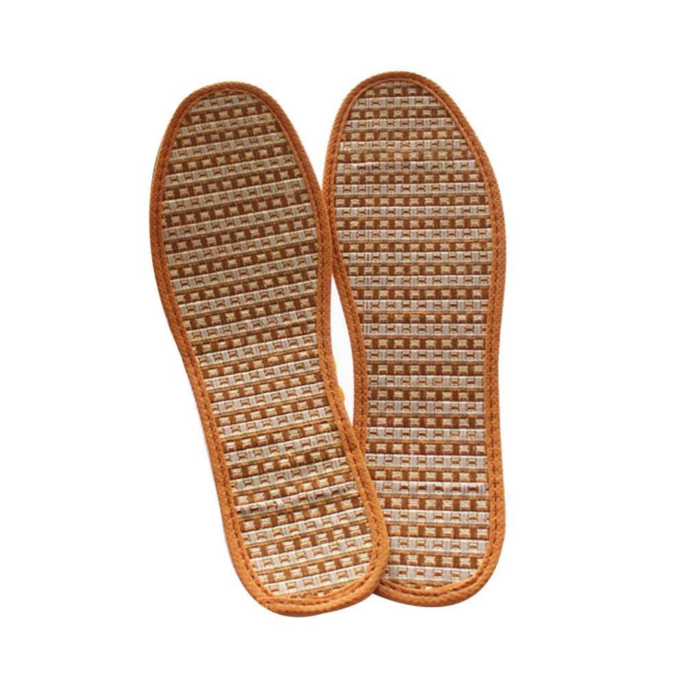 Summer Hot 1 Pair Breathable Anti-Bacterial Bamboo Charcoal Hand-Woven Shoe Pads Insoles bamboo charcoal insoles health sweat absorbent breathable foot pad damping shoe insoles anti slip plantillas zapato accessories