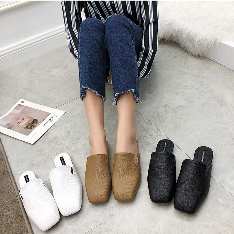 Women Low heels Mules leather Slippers Square toe Slides flat Slip on Shoes 2019 Spring Summer Sandalias mujer Black white Brown