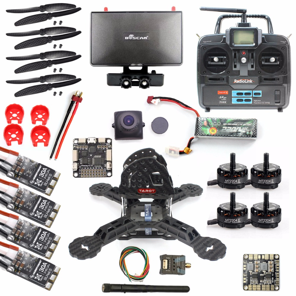 DIY RTF Racer 190 FPV Drone F3 Flight Controller Camera Radiolink T6EHP-E Remote control Monitor RC Multicopter Helicopter