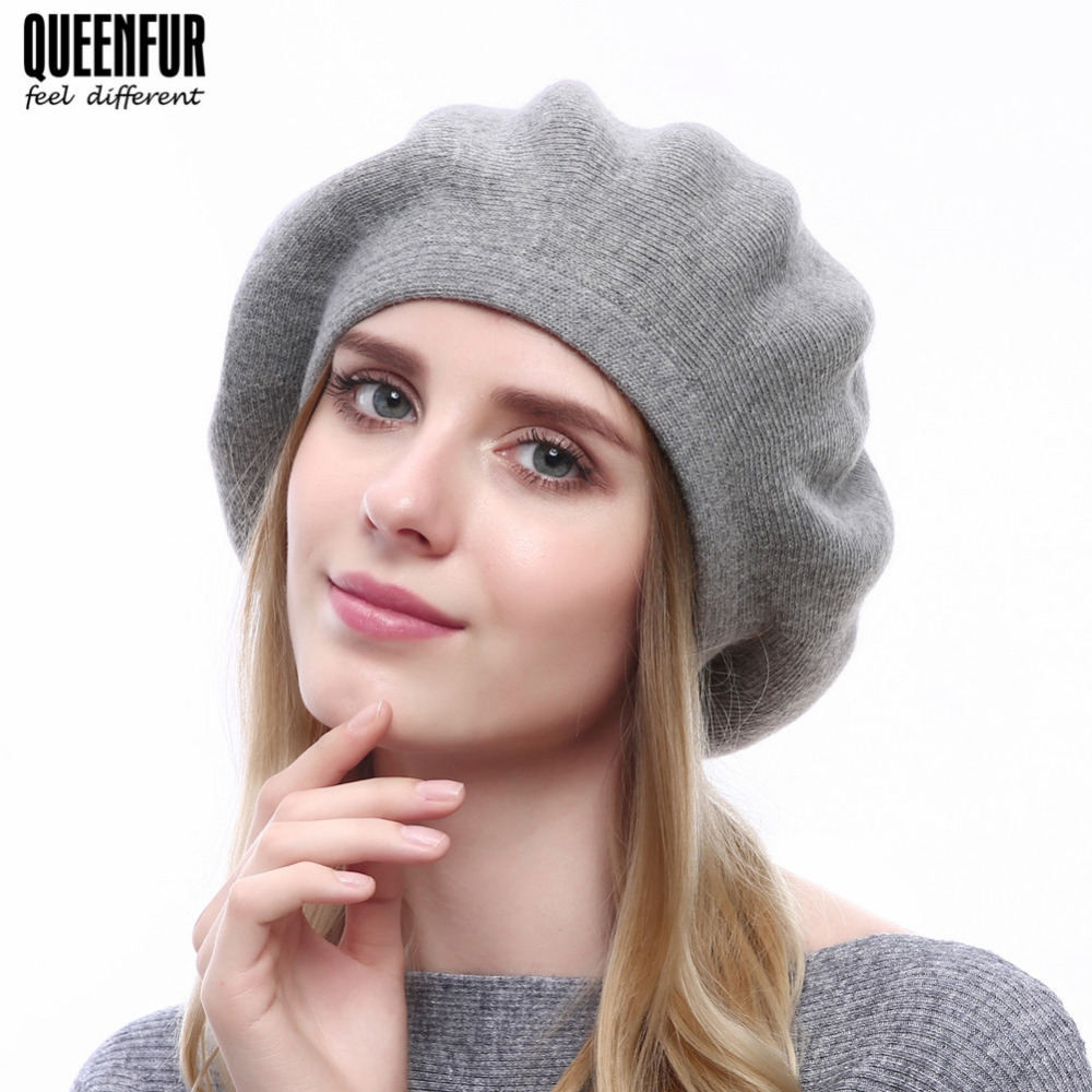 7aaccb4f4fb Women Winter Beret Knitted Wool Hat With Real Silver Fox Fur Pompom Solid  Colors Beanies New Top Quality Beret Cap-in Berets from Apparel Accessories  on ...