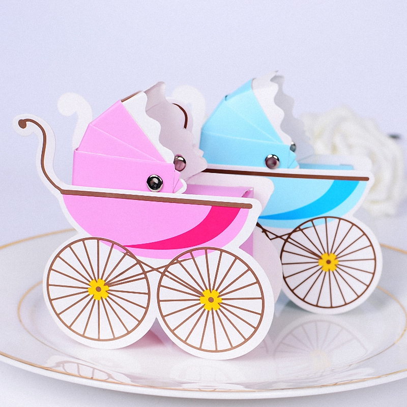 20PCS Creative Baby Shower Boy Girl stroller Paper Candy Box Opened Chocolate Holder Table Ornaments centerpiece birthday Party
