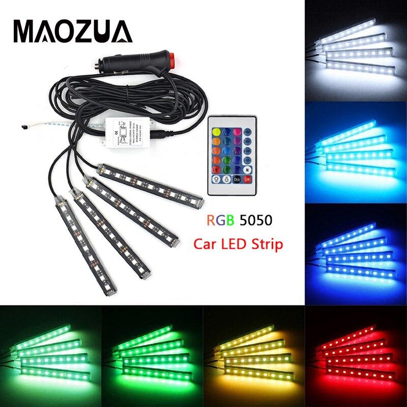 4pcs 12V LED Strip Light Car Interior RGB DRL Cigarette lighter Music IR APP Control Auto Decorative Flexible Backlight Lamp