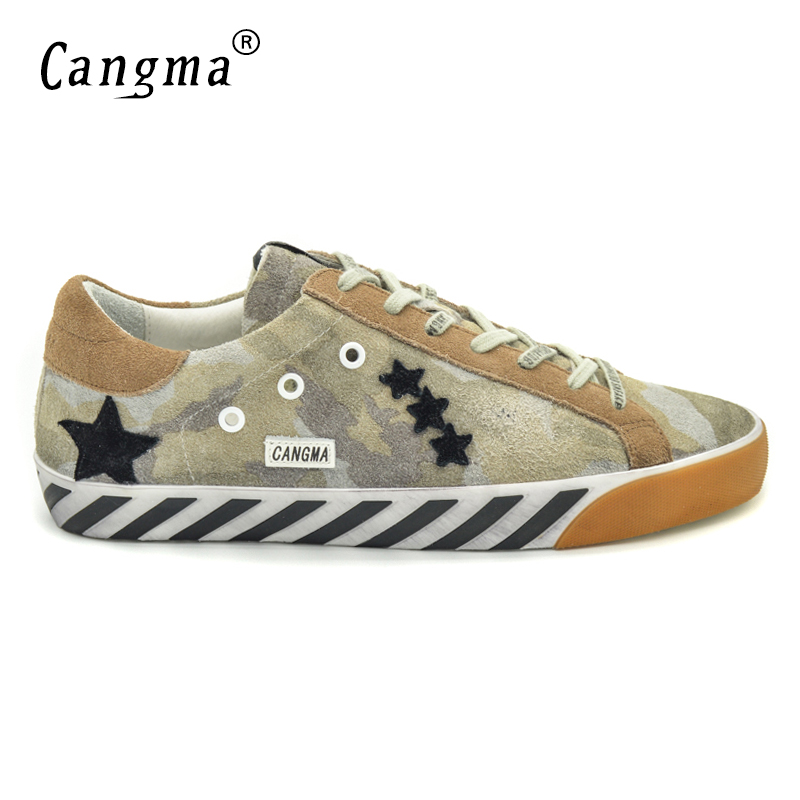 CANGMA Original Italy Deluxe Brand 2017 Men Shoes Genuine Leather Superstar Male Casual Camouflage Green Shoes Chaussure Calzado cangma original italy deluxe brand men golden shoes women handmade silver genuine leather goose shoes scarpa stella sapato 2017