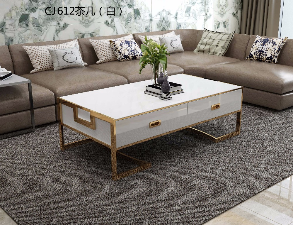 XM612W Tempered glass surface solid wood drawer 304 stainless steel frame corner Entrance tea coffee table TV stand cabinet sets stainless steel coffee table frame