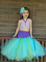 Mermaid Girls Tutu Dress Princess Ariel Girls Kids Tutu Dress with Flower Headband Ariel Under the Sea Birthday Photo Prop