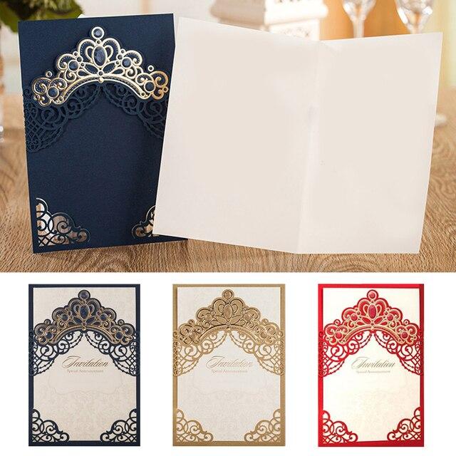 1pcs sample gold red blue laser cut crown wedding invitations card