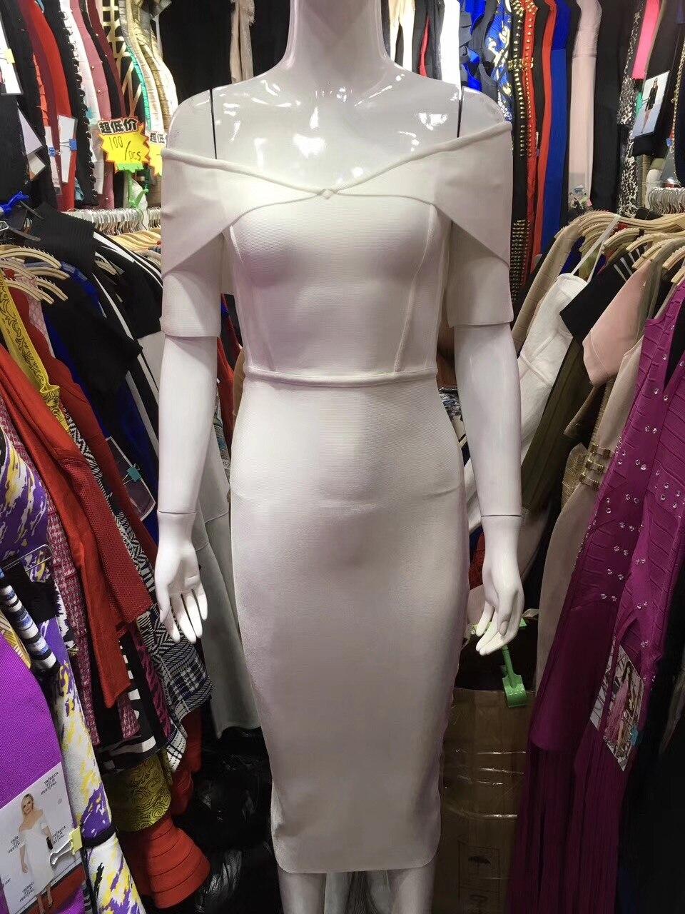 bianco Fasciatura Mezza Bianco Viola 2017 Manica Spalla Vestito Aderente Da Fuori Rayon Donne Sexy Elegante Viola Partito Dalla ED2HIW9