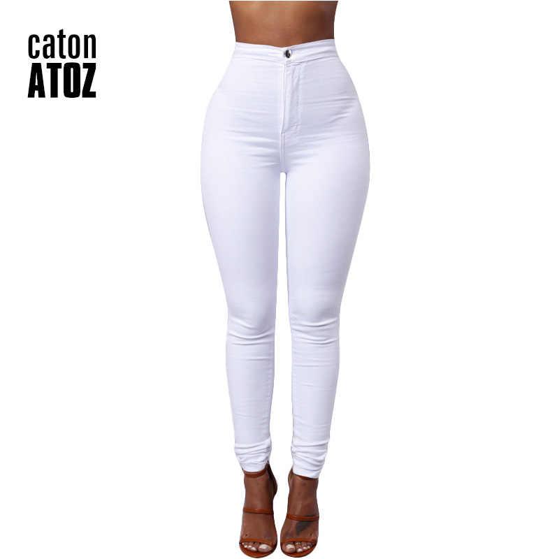 CatonATOZ 1888 nuevos pantalones vaqueros de cintura alta para mujer pantalones vaqueros elásticos para mujer delgados pantalones vaqueros Calca