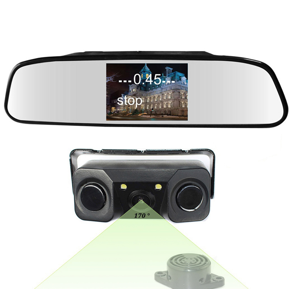 5 inch Mirror Monitor 3in1 Video Parking Sensor Backup Radar With Rear View Camera 5inch LCD