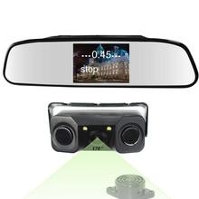 5 дюймов Зеркало Мониторы + 3in1 видео парковка Сенсор резервный радиолокатор с заднего вида Камера 5 дюймов ЖК-дисплей заднего вида автомобиля минотор видео парковка