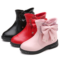 Winter Girl Boots Shoes For Child Fashion Princess Boots With Bow Thicken Cotton Boots Kids Warming