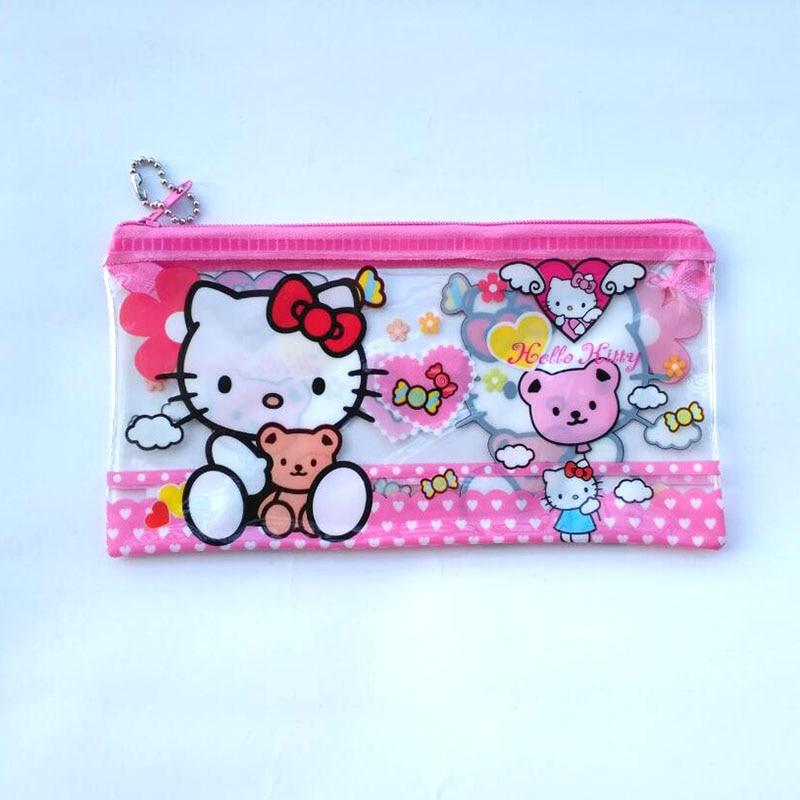 2 pcs/lot Lovely PVC Hello kitty pencil case Cute school pen bag korean stationery pouch for girls office school supplies Zakka