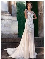2019 Champagne Wedding Dresses Mermaid Lace Appliqued Bride Dresses Train Illusion bridal Dress Floor Length Wedding GownS