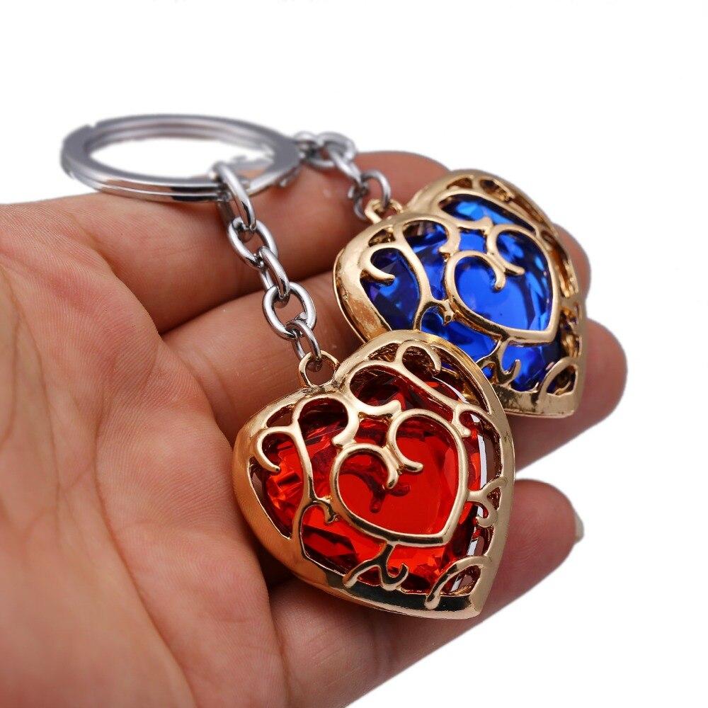Легенда о Зельде брелок синий красный сердце брелок со стразами держатель модный автомобиль chaviro игра брелок кулон подарок ювелирные изделия
