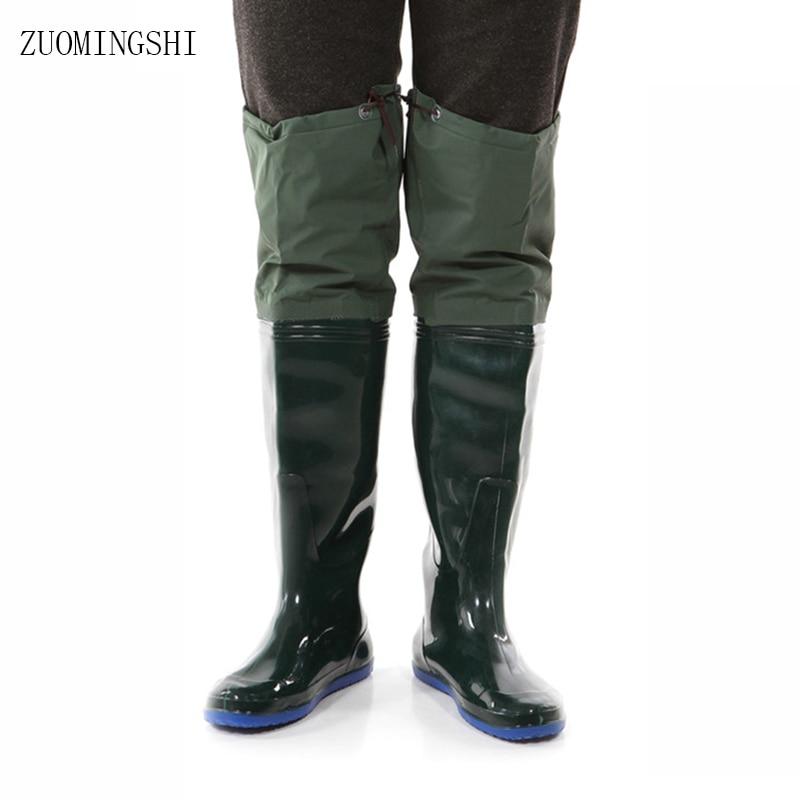 Vissen laarzen mannen zachte zool wassen laarzen vissen bots bus laarzen regen waterdichte schoenen waden werk