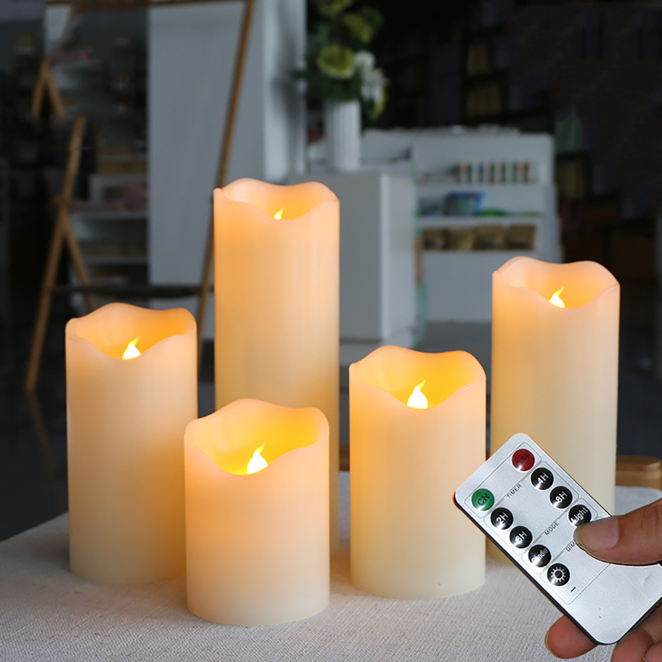 Paraffin Wax LED Candles With Timer Remote Control,Wax Pillar Candle For Wedding/Christmas Decoration/Home Room Led Night Light
