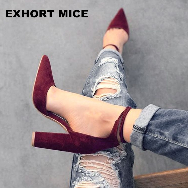 2017 spring summer platform sexy women shoes fashion women pumps retro high heels pointed toe office & career shallow fashion new spring summer med high heels good quality pointed toe women lady flock leather solid simple sexy casual pumps shoes