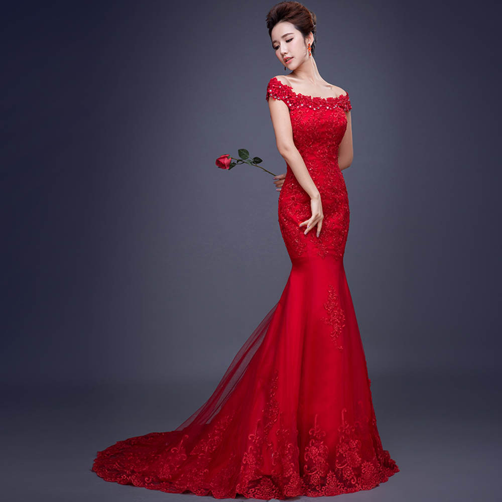Alimida Fashion Wedding Dress 2016 Red Bride Gowns Sequined Boat ...