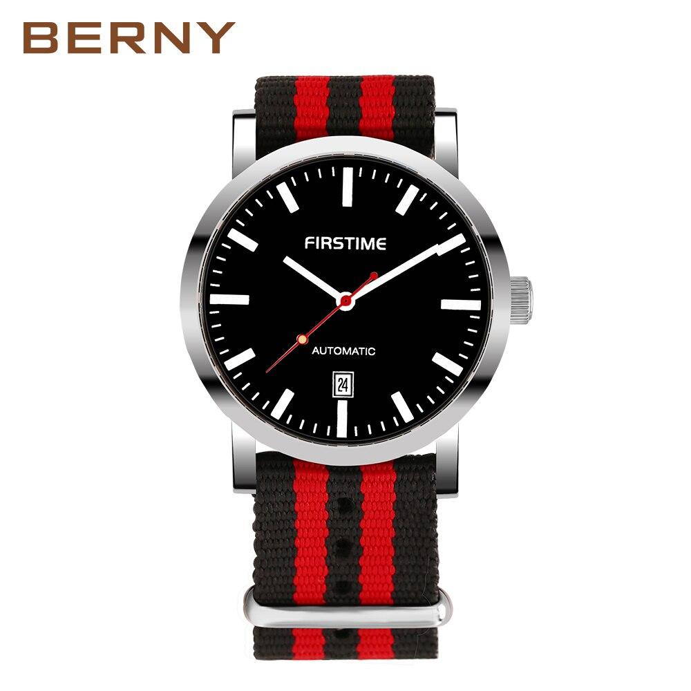 BERNY Brand Automatic Mechanical Watches Men Waterproof Classic Auto Date Watch Men erkek kol saati free