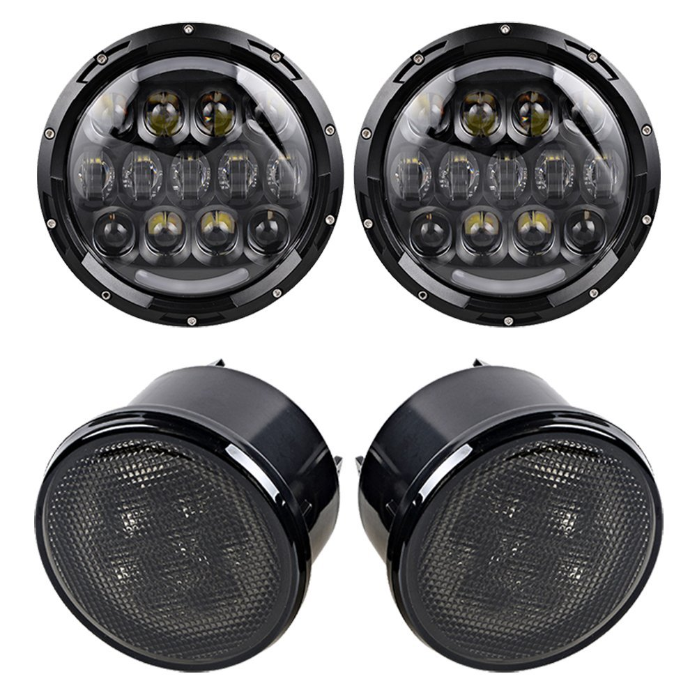 For Jeep LED Headlight 7 LED Headlamp with White Halo&Amber turn signal light&DRL lamp 7inch LED Projector Head Lamp - 2