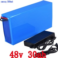 High Power Electric Bike Battery 48V 30A 2000W lithium battery use for Samsung  cell with 50A BMS  2A Charger Free Shipping