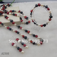 Stunning!White purple black Baroque pearl Genuine freshwater pearl & silver flower necklace bracelet jewelry set A2305
