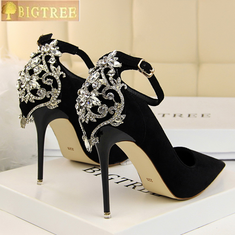 BIGTREE Shoes Pumps Buckle Wedding-Shoe Crystal Pointed-Toe High-Heels Fashion Women's