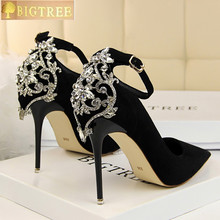 BIGTREE Elegant Crystal Pointed Toe Wedding Shoe Women's Pumps Solid Flock Fashion Buckle Shallow High Heels Shoes for Women