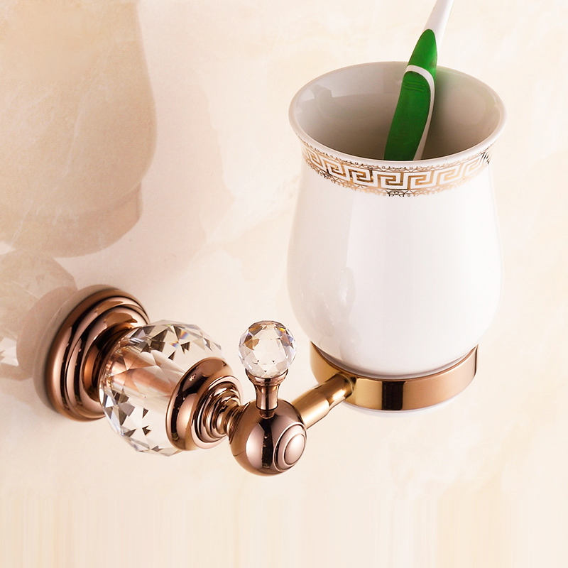 ФОТО Free Shipping European Style Crystal Rose Gold Toothbrush Holder With Ceramic Cup Single Cup Holder Bathroom Accessories