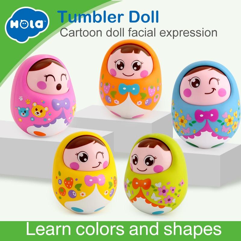 HOLA 979 Bébi játékok Csörgők Csöpögő Matlyoshka Tumbler Doll Sweet Bell Zene Roly-poly Tanulási Oktatási Játékok Xmas Ajándékok