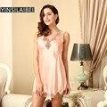 Qualidade V Vestido de Renda Dormir Mulheres Sleepwear Faux Seda Camisola de Cetim Vestido De Noite Vestido Casa de Luxo Nuisette Femme SY098 #34