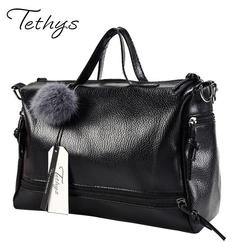 Tethys Designer Leather Women Handbag Shoulder Bag Female Top-handle Boston Women Bag Big Tote Ladies Messenger Bags Black Sac