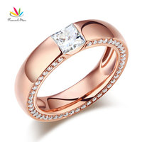 Peacock Star 14K Rose Gold 0.6 Carat Moissanite Diamond Wedding Band Ring for Women
