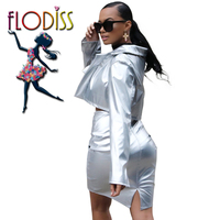 FLODISS Fashion Silver Shiny PU Party Suit 2018 Autumn Winter Women Cool Leather Jacket Skirt 2