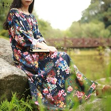 ZANZEA Women Maxi Long Dress 2018 Vintage Floral Print Dresses Batwing Long Sleeve Pockets Casual Loose Vestidos Plus Size