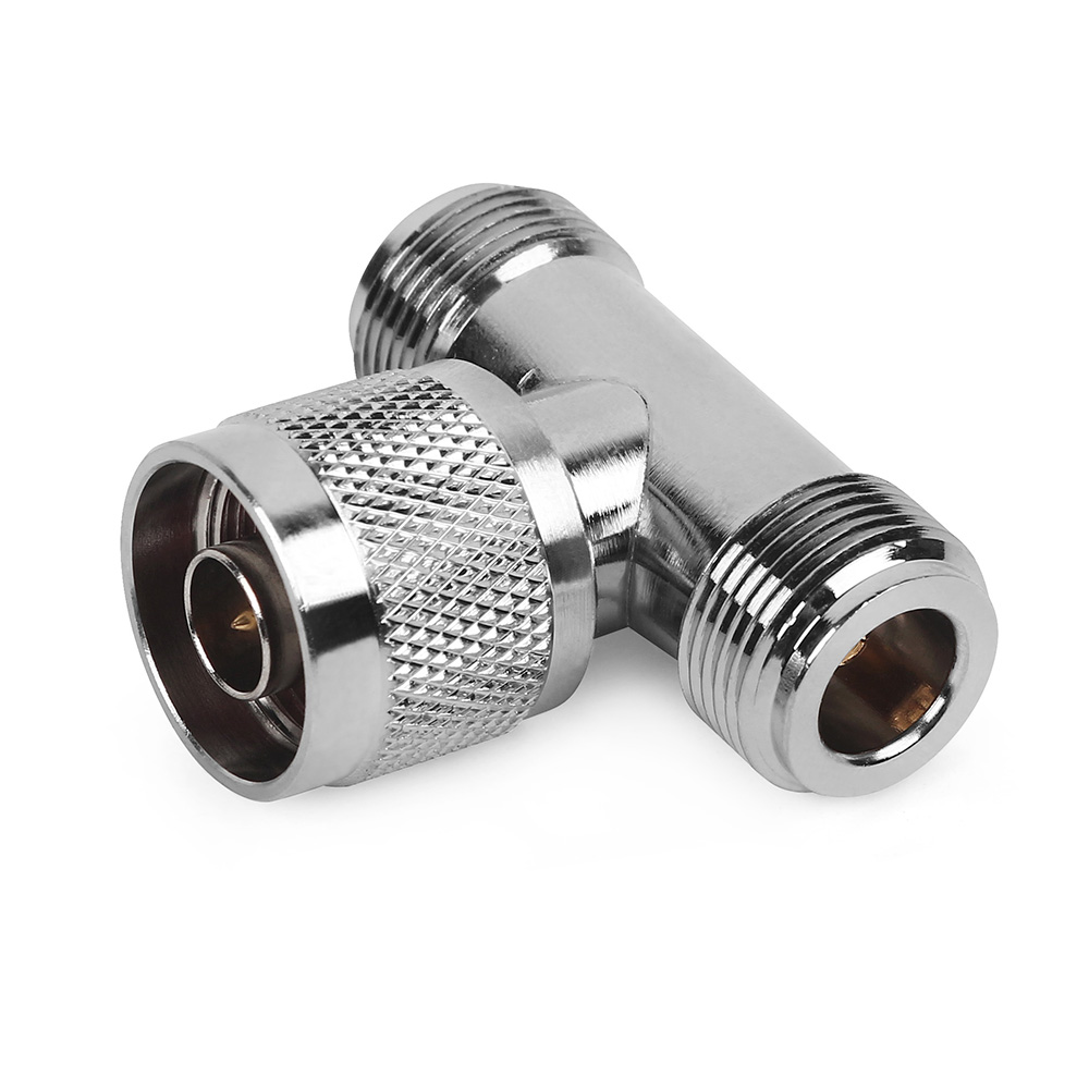 3 Way Connector N Male Jack To 2 N Female Triple T In RF Adapter For Outdoor / Indoor Antenna / Signal Repeater N Male Connector