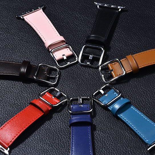 Newest Genuine Leather Sunflower Classic Buckle watch band straps for apple watch series 1 2 3 iwatch watchbands genuine leather classic buckle watch straps wrist band for apple watch 42mm red