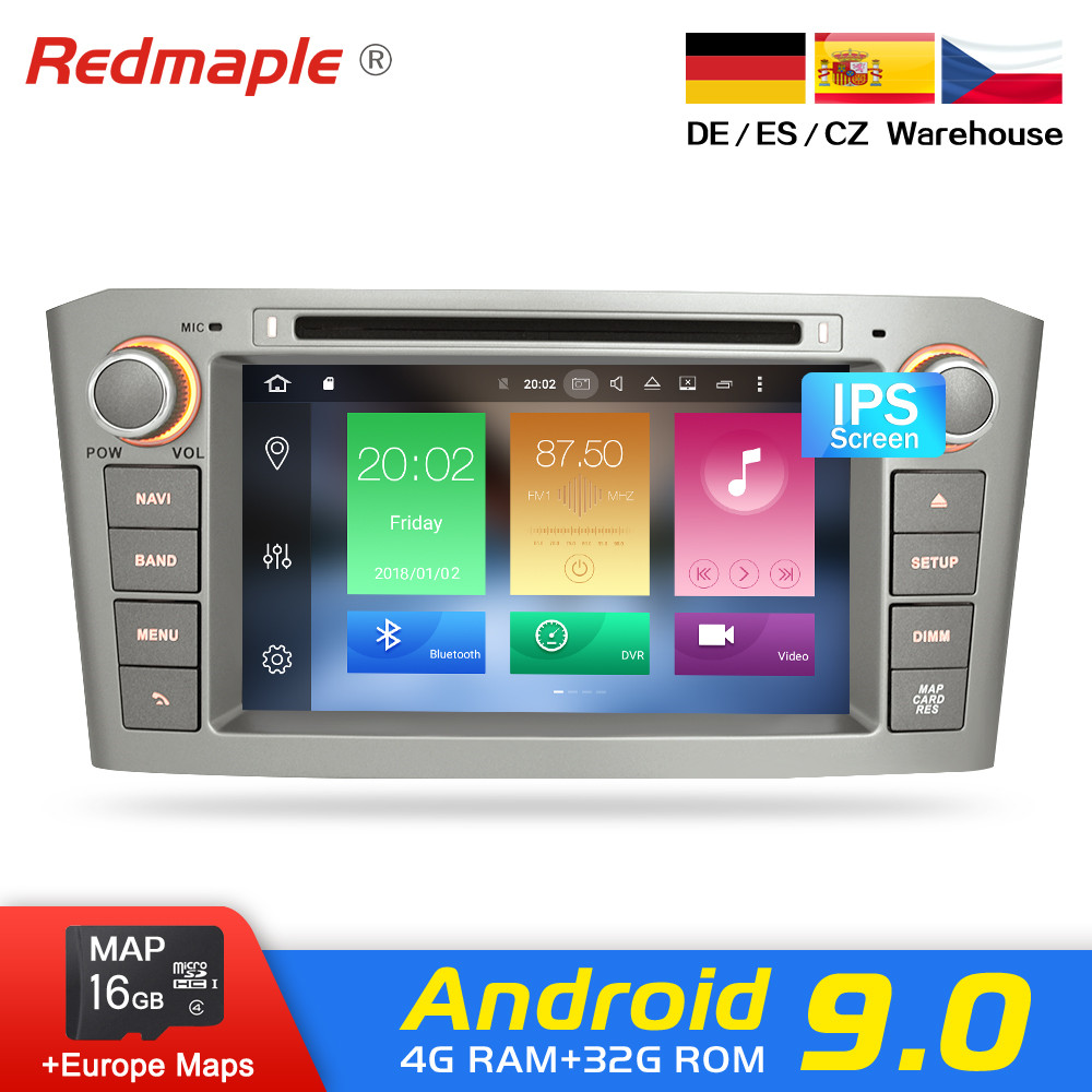 4G RAM Android 9.0 Car Radio GPS Multimedia Stereo DVD Player For Toyota Avensis T25 2003-2008 Auto Audio WIFI Video Navigation