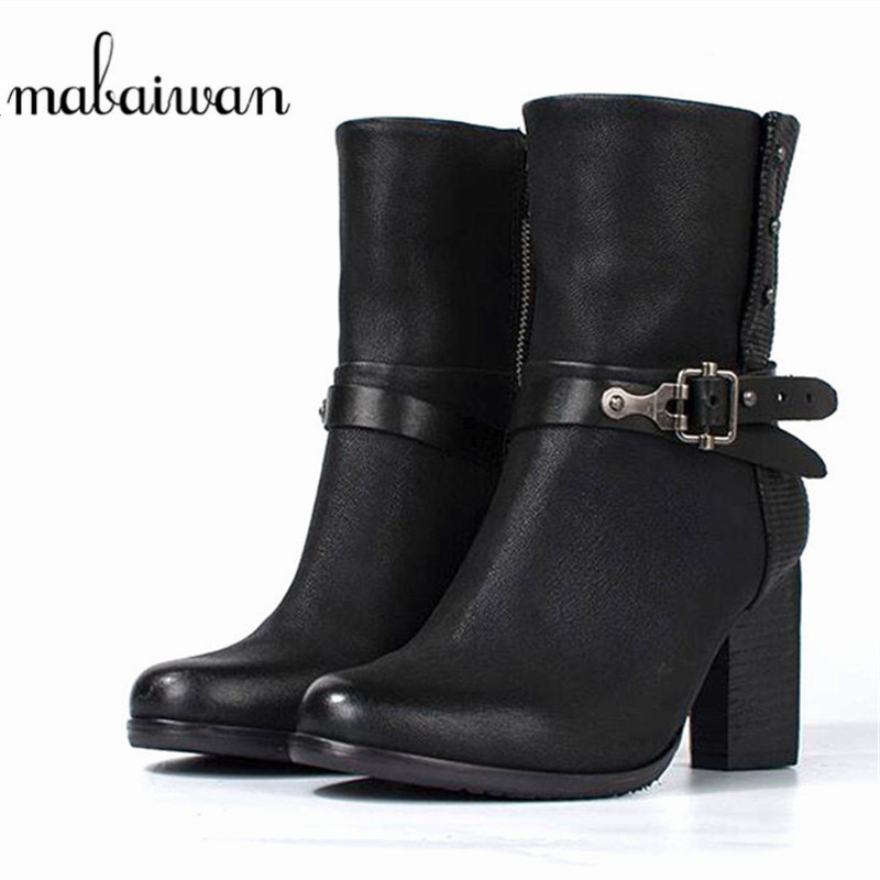 Mabaiwan Fashion Black Genuine Leather Women Shoes Military Cowboy Snow Ankle Boots Buckle Winter High Heel Shoes Women Pumps mabaiwan handmade rivets military cowboy boots mid calf genuine leather women motorcycle boots vintage buckle straps shoes woman