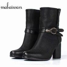 Mabaiwan модная черная женская обувь из натуральной кожи Военное Дело ковбой снег Ботильоны пряжкой зимняя обувь на высоком каблуке Для женщин Насосы