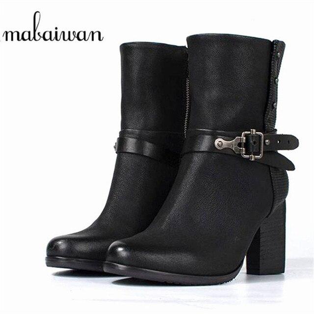 2c850045e32f Mabaiwan Mode Noir En Cuir Véritable Femmes Chaussures Cowboy Militaire  Neige Cheville Bottes Boucle D