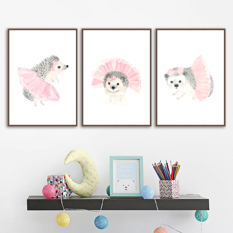 Watercolor Hedgehog Pink Skirt Wall Art Canvas Painting Nordic Posters And Prints Wall Pictures For Living Room Ids Room Decor