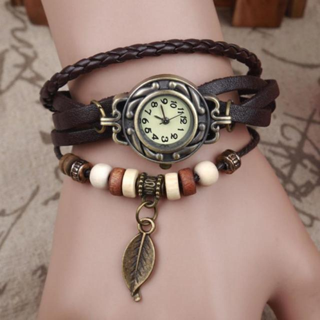 2018 Women Watches Fashion Leather Vintage Weave Wrap Quartz Wrist Watch Bracele
