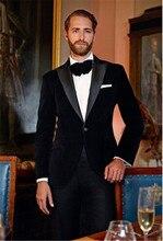 2020 New Elegant Red/Royal Blue/Black Velvet Groom Tuxedo Jacket Black Lapel Mens Blazer Slim Fit Suit Men Wedding Suits Sets