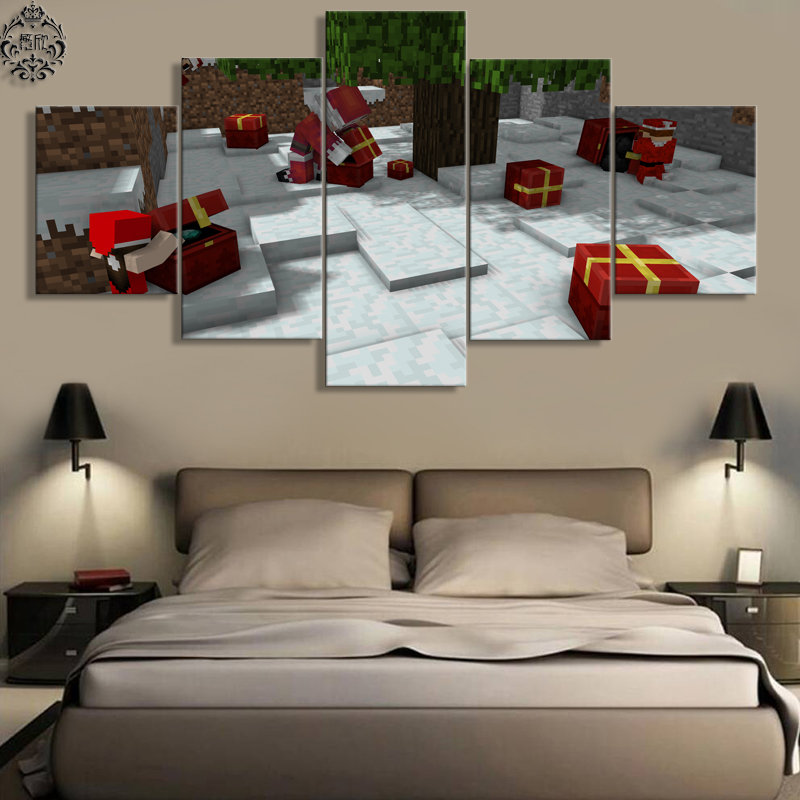 5 Panel Minecraft Christmas Gift Canvas Printed Game Poster Home Decor For Living Room Wall Art