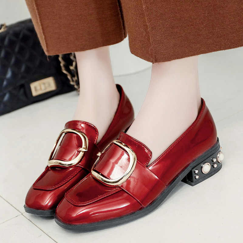 Luxe Klinknagels parels espadrilles slip-op loafers gesp oxfords chunky kleine lederen metalen versieren schoenen vrouwen ontwerpers
