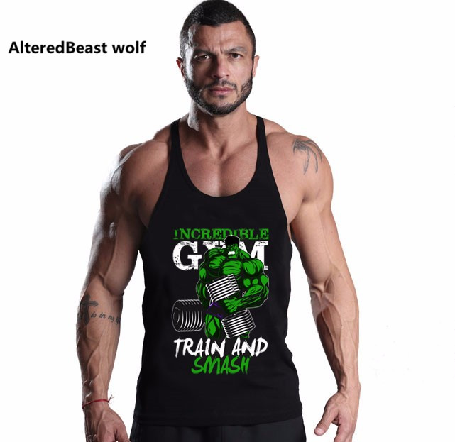 Brand Sexy Men Fitness Tank Tops HULK print Bodybuilding Men O Neck Sleeveless Shirt Muscle Cotton