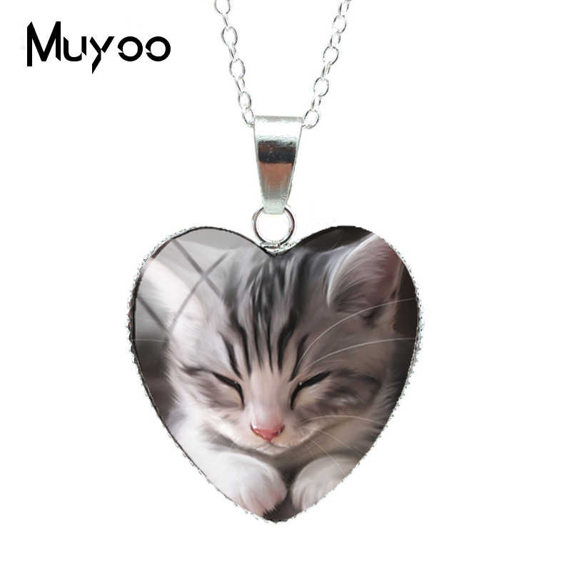 2019 New Lovely Cute Kitten Baby Little Cats Sweet Patterns Heart Pendants Cute Kittens Jewelry Silver Chains NecklaceHZ3