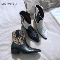 MNIXUAN Cowboy Boots For Women Gothic Shoe 2019new genuine leather snake print high heels white western black Denim ankle boots