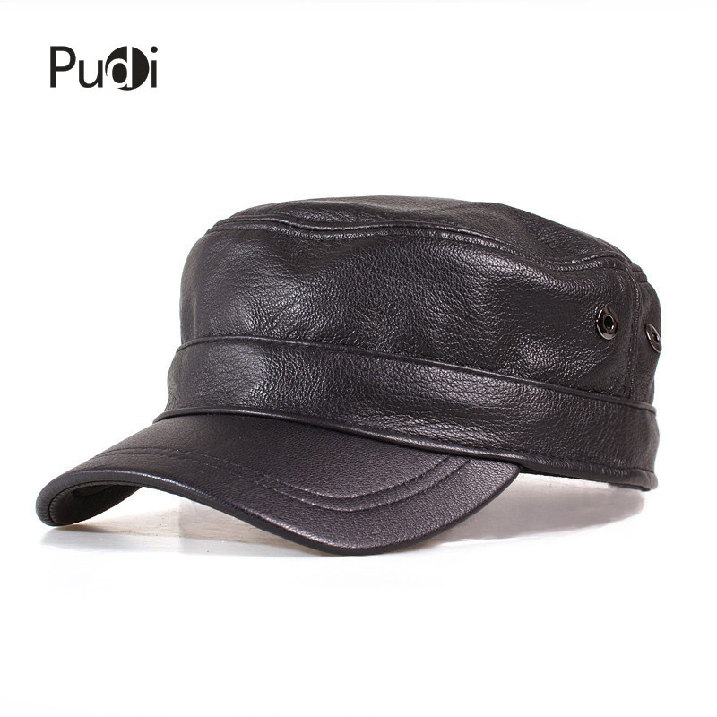 HL153-B genuine leather men   baseball     cap   hat high quality men's real sheep skin leather adult solid army hats   caps